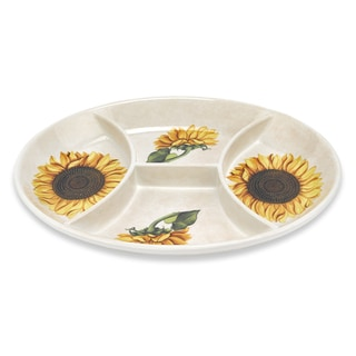 Lorren Home Trends 16-inch Sunflower 4-Section Dish