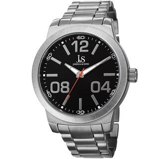 Joshua & Sons Bold Men's Quartz Large Arabic Numerals Silver-Tone Bracelet Watch - silver
