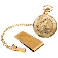 August Steiner Men's Quartz Locomotive Pocket Gold-Tone Watch & Money Clip