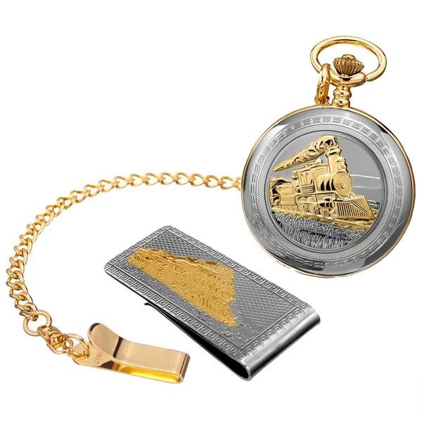 August Steiner Men's Quartz Locomotive Pocket Silver-Tone Watch & Money Clip