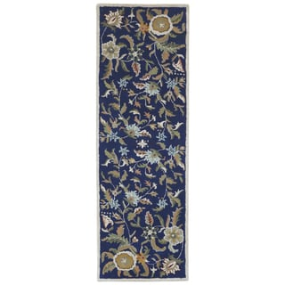 Blue Wool Traditions Paradise (2.5'x8') Runner