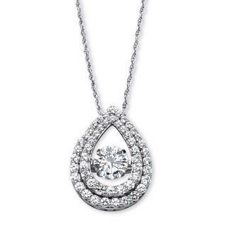 "PalmBeach 1.75 TCW Cubic Zirconia ""CZ in Motion"" Pear-Shaped Halo Pendant in Platinum over Sterling Silver 18"" Classic CZ"