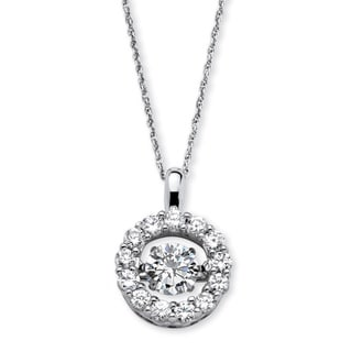 "PalmBeach 1.76 TCW Round ""CZ in Motion"" Halo Necklace in Platinum over Sterling Silver 18"" Classic CZ"