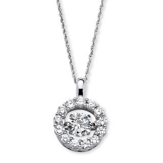 "1.76 TCW Round ""CZ in Motion"" Halo Necklace in Platinum over Sterling Silver 18"" Classic C"