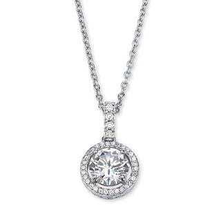 PalmBeach 2.25 TCW Round Cubic Zirconia Floating Halo Pendant Necklace in Platinum over Sterling Silver Classic CZ