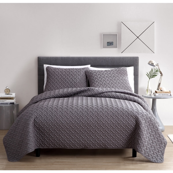 Grey And Green Bedding VCNY Nina Embossed 3-piece Quilt Set - On Sale - Free ...
