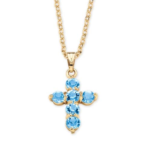 Gold Tone Cross Pendant (15.5mm) Round Simulated Birthstones