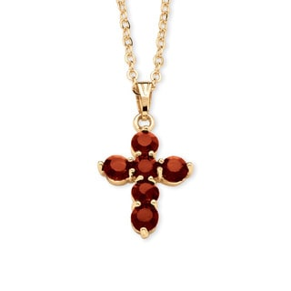 Birthstone Cross Pendant Necklace in Yellow Gold Tone Color Fun