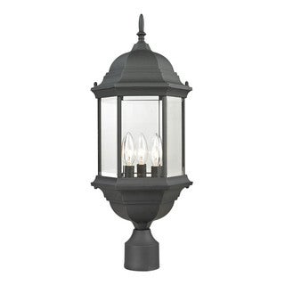 Cornerstone Matte Textured Black Spring Lake 3-light Exterior Post Lantern