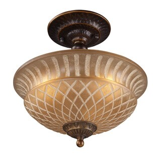 Cornerstone Golden Bronze 3-light Semi Flush