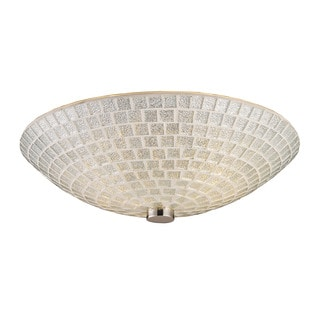 Cornerstone Satin Nickel With Silver Mosaic Glass Fusion 2-light Semi Flush