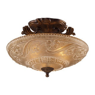 Cornerstone Golden Bronze Restoration 3-light Semi Flush Light