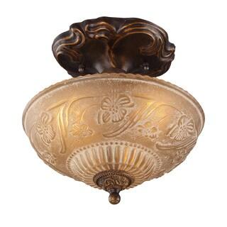 Cornerstone Golden Bronze Restoration 3-light Semi-flush Mount