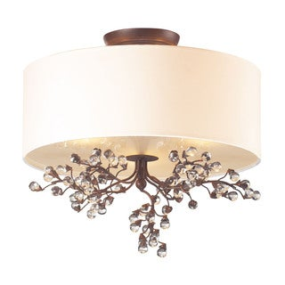 Cornerstone Antique Darkwood Winterberry 3-light Semi Flush