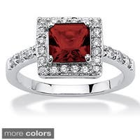 Princess-Cut Birthstone Halo Ring in .925 Sterling Silver Color Fun
