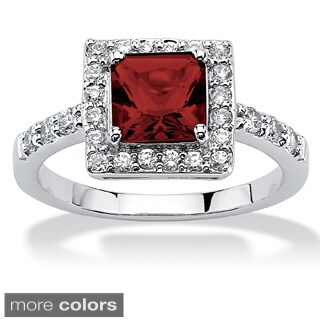 Princess-Cut Birthstone Halo Ring in .925 Sterling Silver Color Fun (More options available)