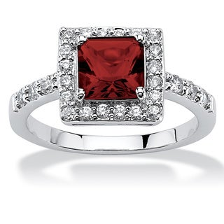 Link to Princess-Cut Birthstone Halo Ring in .925 Sterling Silver Color Fun Similar Items in Birthstone Jewelry