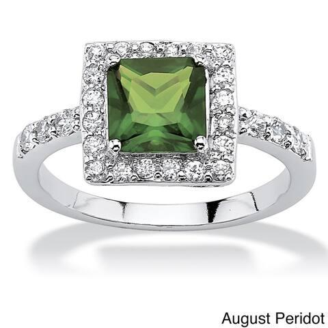 Princess-Cut Birthstone Halo Ring in .925 Sterling Silver Color Fun
