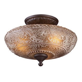 Cornerstone Oiled Bronze Norwich 3-light Semi Flush