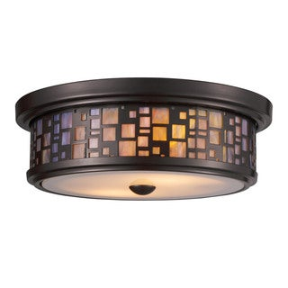 Cornerstone Oiled Bronze Tiffany-style 2-light Flush Mount