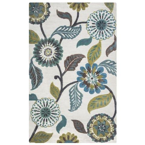 Milan Collection Teal Floral Rug
