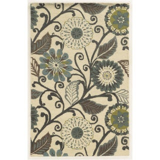 Milan Hand-Tufted Floral Blended Wool Area Rug (3' x 5') - 3' x 5'