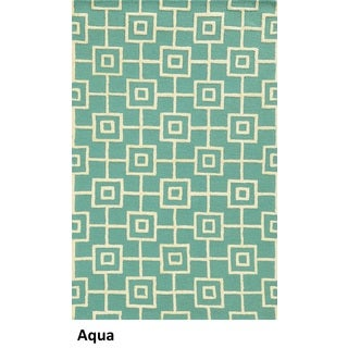 Rizzy Home Eden Harbor Hand-Tufted Blue Geometric Blended Wool Area Rug (2' x 3')