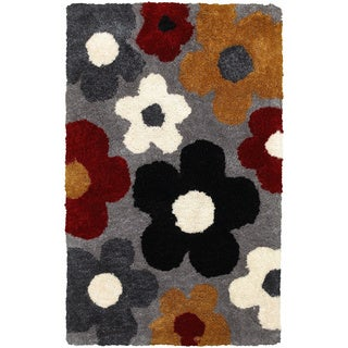 Rizzy Home Commons Hand-Tufted White Floral Area Rug (9' x 12')