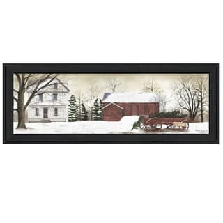 """""""Christmas Trees for sale"""" By Billy Jacobs, Printed Wall Art, Ready To Hang Framed Poster, Black Frame"""