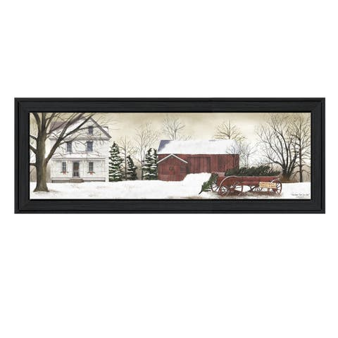 """Christmas Trees for sale"" By Billy Jacobs, Printed Wall Art, Ready To Hang Framed Poster, Black Frame"