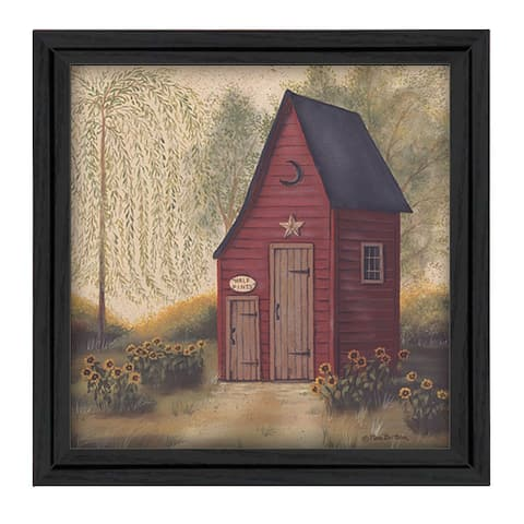"""Folk Art Outhouse"" By Pam Britton, Printed Wall Art, Ready To Hang Framed Poster, Black Frame"
