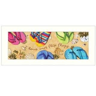"""I Love My Flip Flops"" by Barb Tourtillotte Printed Framed Wall Art"