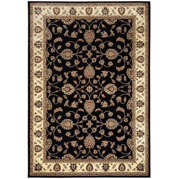 Rizzy Home Chateau Black Border Area Rug (6'7 x 9'6)