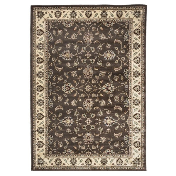 Rizzy Home Chateau Brown Border Area Rug - 6'7 x 9'6
