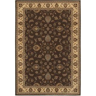 Rizzy Home Chateau Brown Border Area Rug (5'3 x 7'7)