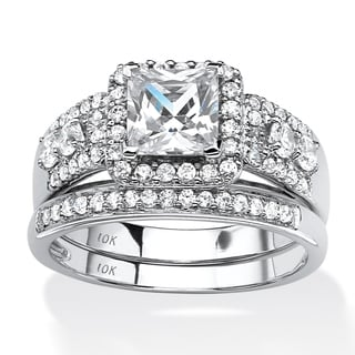 PalmBeach 1.85 TCW Princess-Cut Cubic Zirconia Two-Piece Halo Bridal Set in 10k White Gold Classic CZ