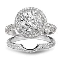 Avanti Rhodium Plated Sterling Silver 2.94 TGW CZ Double Halo Round Bridal Ring Set