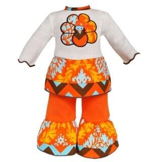 AnnLoren Boutique Chevron & Damask Thanksgiving Turkey 2-piece Doll Outfit