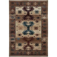 Rizzy Home Bellevue Beige Abstract Area Rug - 7'10 x 10'10