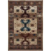 Rizzy Home Bellevue Beige Abstract Area Rug - 6'7 x 9'6
