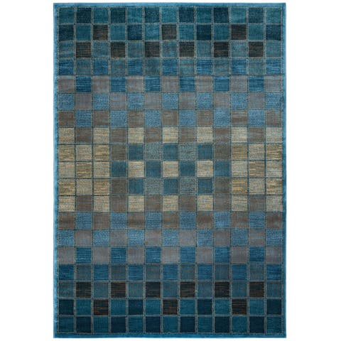 "Rizzy Home Bellevue Blue Abstract Area Rug (6'7 x 9'6) - 6'7"" x 9'6"""