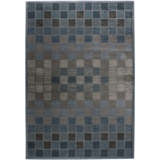 Rizzy Home Bellevue Blue Abstract Area Rug (5'3 x 7'7)