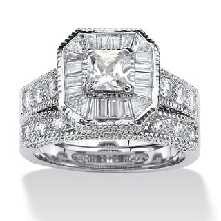 PalmBeach 2 Piece 2.31 TCW Princess-Cut Cubic Zirconia Octagon Bridal Ring Set Platinum over Sterling Silver Classic CZ