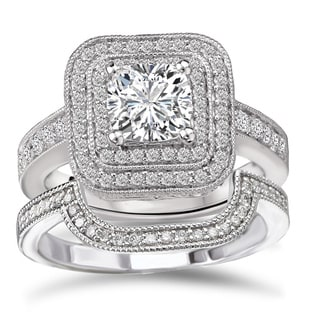 Avanti Rhodium Plated Sterling Silver Cubic Zirconia Princess Cut Double Halo Bridal Ring Set