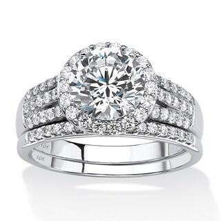 10K White Gold Cubic Zirconia Halo Multi Row Bridal Ring Set