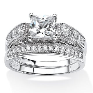 1.50 TCW Princess-Cut Cubic Zirconia Two-Piece Vintage Bridal Set in 10k White Gold Classi