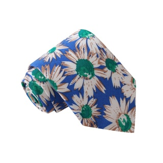 Knot Society Men's Blue Flower Print Tie
