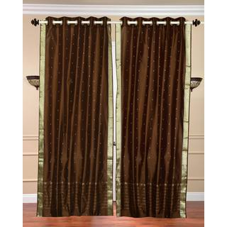 84-inch Brown Ring Top Sheer Sari Curtain Drape Window Panel