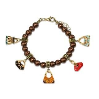 Gold Overlay Purse Glass Charm Bracelet