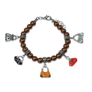 Sterling Silver Purse Glass Charm Bracelet